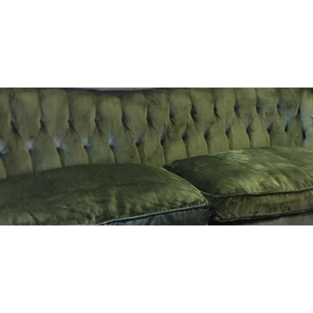 Rolf Edward Broms - Emerald Green Silk Velvet Hollywood Regency Sofa By For Sale - Image 4 of 8