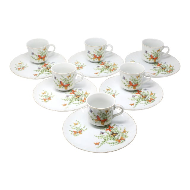"Image of Vintage ""Ecstasy"" Butterflies Snack Plates and Cups by Shafford - Set of 12"