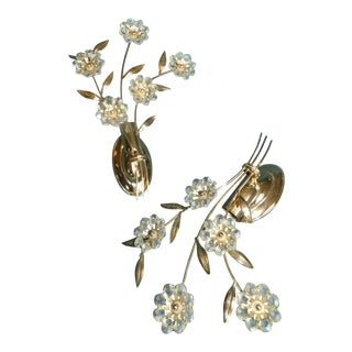 """C1960s Mid Century Modern German Made by """"Palwa"""" Cut Crystal Flower Form Dore Sconces - a Pair For Sale"""