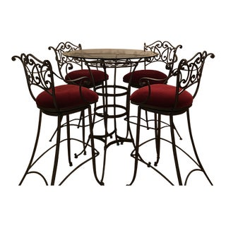 Wrought Iron and Glass Bistro Dining Table and Custom Upholstered Swivel Bar Stools For Sale