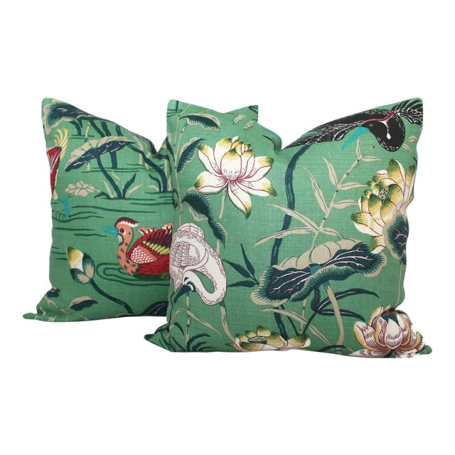 "Schumacher 20"" x 20"" Jade Lotus Garden Decorative Pillow Cover For Sale - Image 4 of 6"