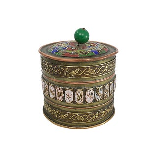 Chinese Brass Enameled Box For Sale