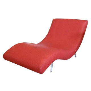 Mid-Century Modern Vintage Red Woven Upholstered Chaise Longue