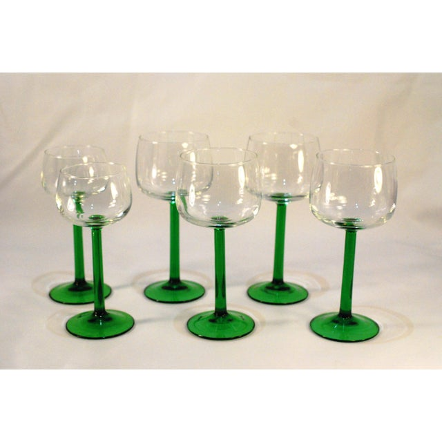 Emerald Green Cristal d'Arques Wine Glasses - Set of 6 - Image 2 of 5
