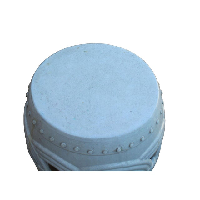 Asian Chinese White Coin Pattern Round Clay Ceramic Garden Stool For Sale - Image 3 of 7