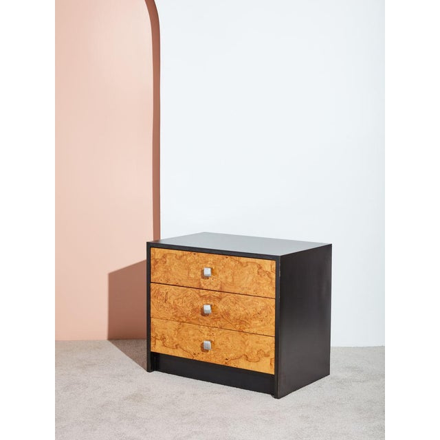 Art Deco 1970s Burl and Black Laminate Chest of Drawers For Sale - Image 3 of 4