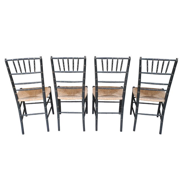 Transitional Set of Four Faux Bamboo Wood and Rush Decorative Chairs For Sale - Image 3 of 7