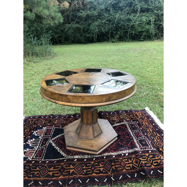 Mid Century Burlwood Pedestal Table With Inset Smoked Glass For Sale - Image 11 of 12
