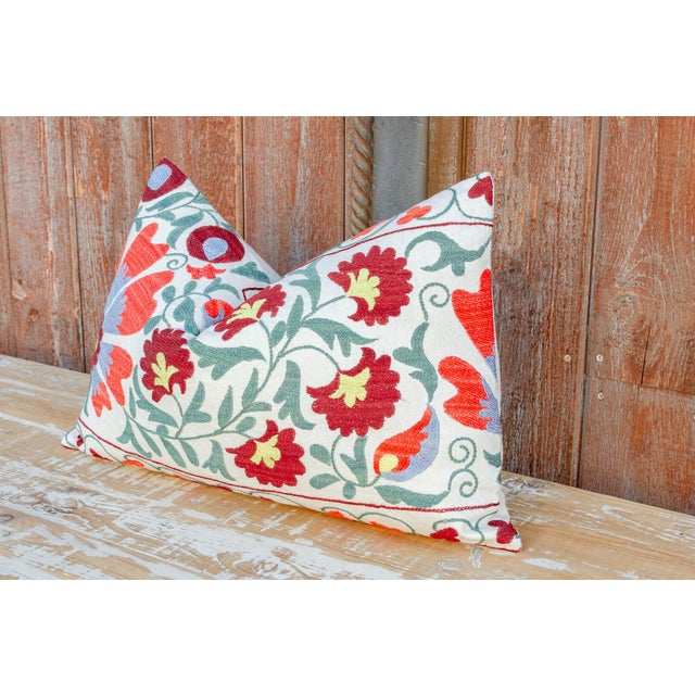 Boho Chic Paoli Coral Floral Suzani Pillow For Sale - Image 3 of 10