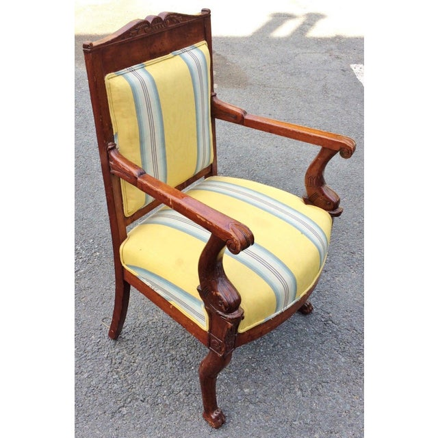 19th Century Napoleonic Mahogany Carved Arm Chair For Sale - Image 11 of 12