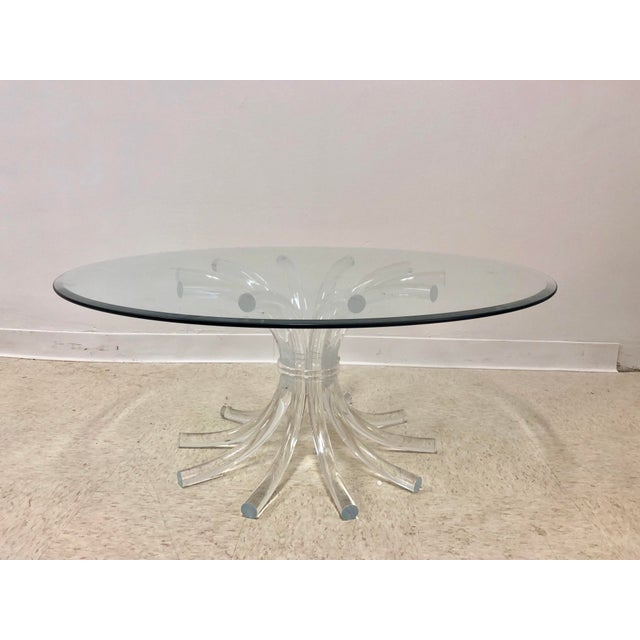 Transparent Lucite Wheat Sheaf Coffee / Cocktail Table For Sale - Image 8 of 8