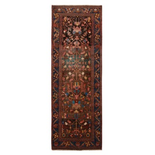 """Vintage Bidjar Brown and Pink Wool Runner Rug With Blue Accents - 2'7"""" x 7'8'"""" For Sale"""