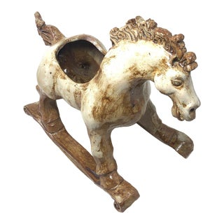 1976 Pottery Rocking Horse Planter by John Carlos Lopez For Sale