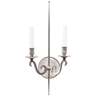 Paul Marra Pewter and Rock Crystal Parzinger Style Sconces - a Pair For Sale