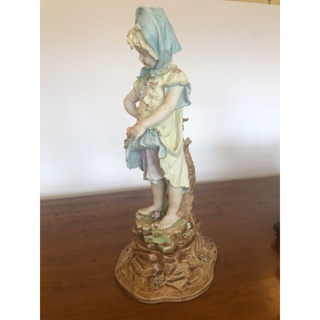 Ceramic Large Antique Hand Painted Parian Porcelain Figure of a Girl For Sale - Image 7 of 13