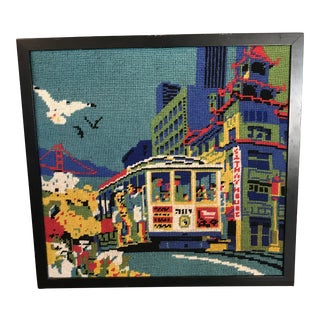 San Francisco Framed Needlepoint Textile Art For Sale