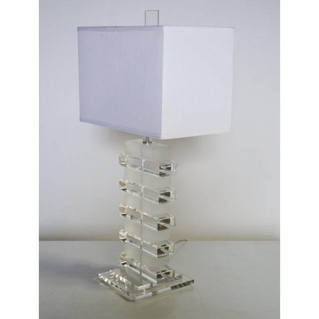 Stacked Lucite Table Lamp For Sale - Image 4 of 8