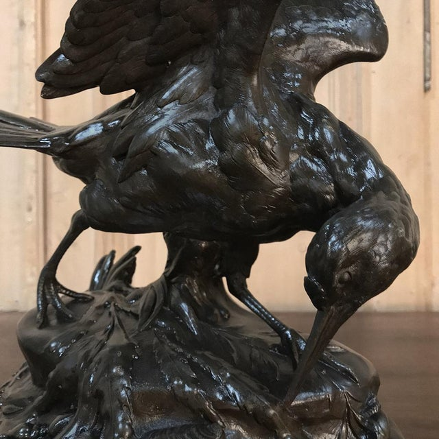Antique French Bronze Bird Statue For Sale - Image 4 of 8