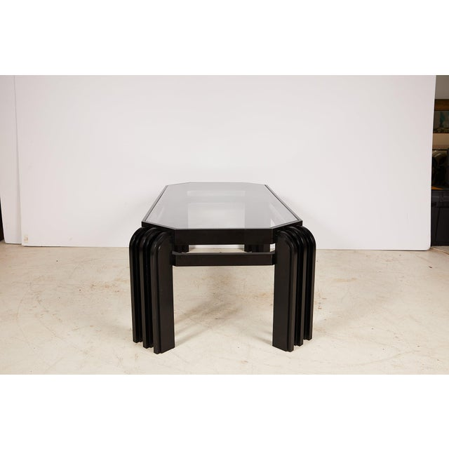 Vintage Black Lacquer Cocktail Table With a Wired Glass Top For Sale - Image 4 of 13