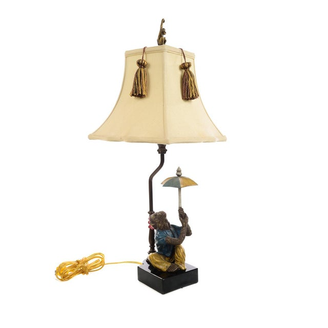 Brown Monkeys Holding an Umbrella -Beautiful Vintage Table Lamps-A Pair For Sale - Image 8 of 10