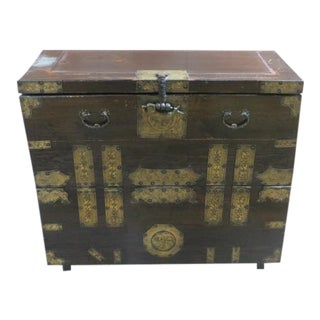 19th Century Korean Style Metal Detailed Chest For Sale