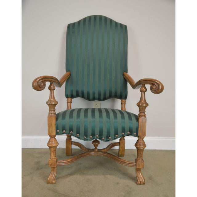 Spanish Baroque Style Custom Quality Pair of Throne Armchairs For Sale - Image 11 of 13