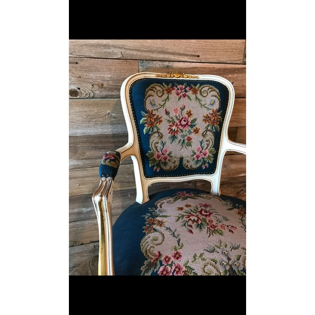 French Needle Point Arm Chair (2 Available) - Image 3 of 6