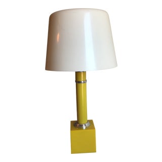 1960s Boho Chic Yellow Plexiglass Table Lamp