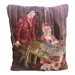 Vintage English Needlepoint Pillow For Sale