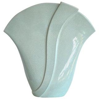 Postmodern Fan Form Ceramic Vase For Sale