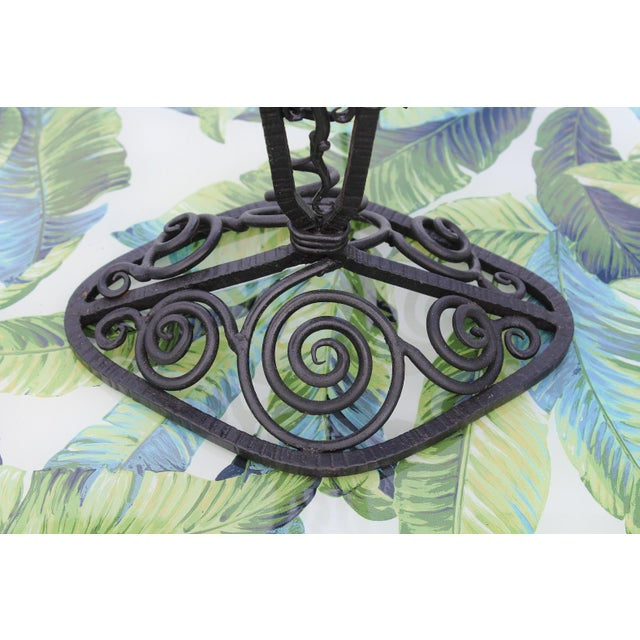 Metal 1920s French Art Deco Wrought Iron Double Lamp With Glass Shades For Sale - Image 7 of 12