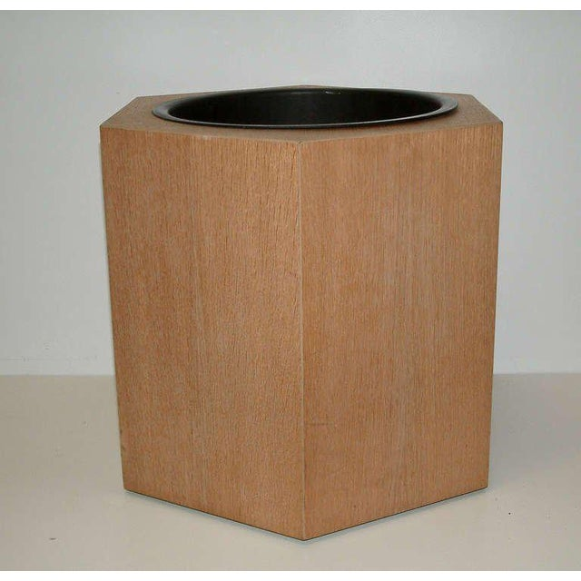 Circa 1970s Paul Mayen Hexagonal Oak and Aluminum Planter - Image 2 of 7