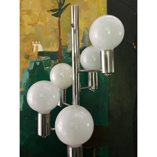 Mid Century Chrome Waterfall 5 Globe Lamp For Sale - Image 5 of 10
