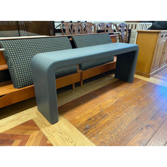Contemporary Late 20th Century Karl Springer Style Arch Gray Console Table For Sale - Image 3 of 8