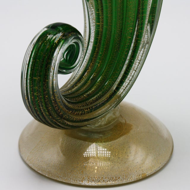 Metal Archimede Seguso Jack-In-The-Pulpit Vase With 24k Gold Inclusions, C. 1950 For Sale - Image 7 of 8