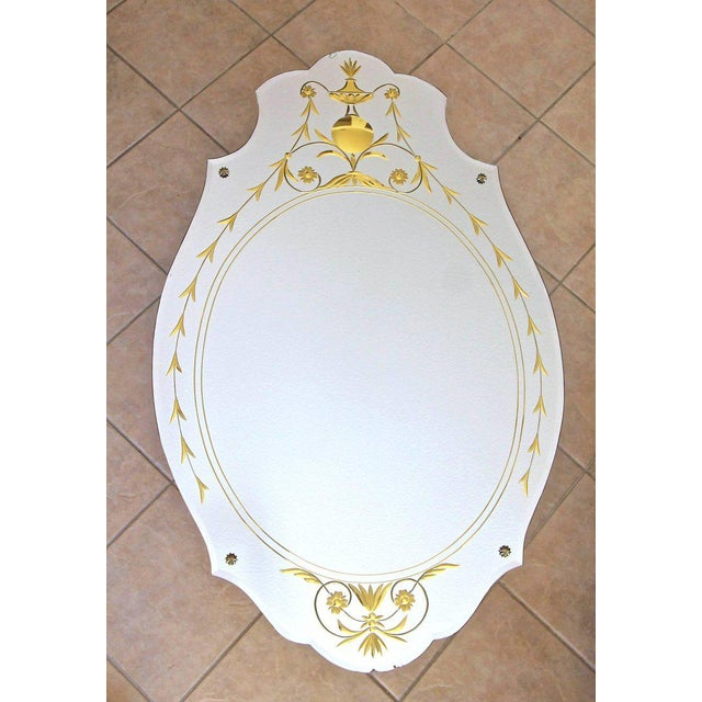 Metal 1930s Art Deco Etched Gold Wall Mirror For Sale - Image 7 of 11