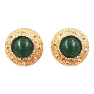 Napier Egyptian Revival Goldtone & Faux-Jade Earrings, 1971 For Sale