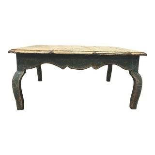 1940s Rustic Cream and Turquoise Colored Country Coffee Table For Sale
