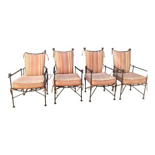 Set of 4 Mario Papperzini Style Iron Garden Chairs For Sale