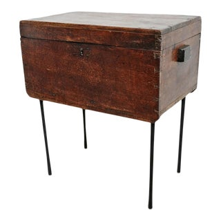 Vintage Teak Wood Trunk on Stand For Sale