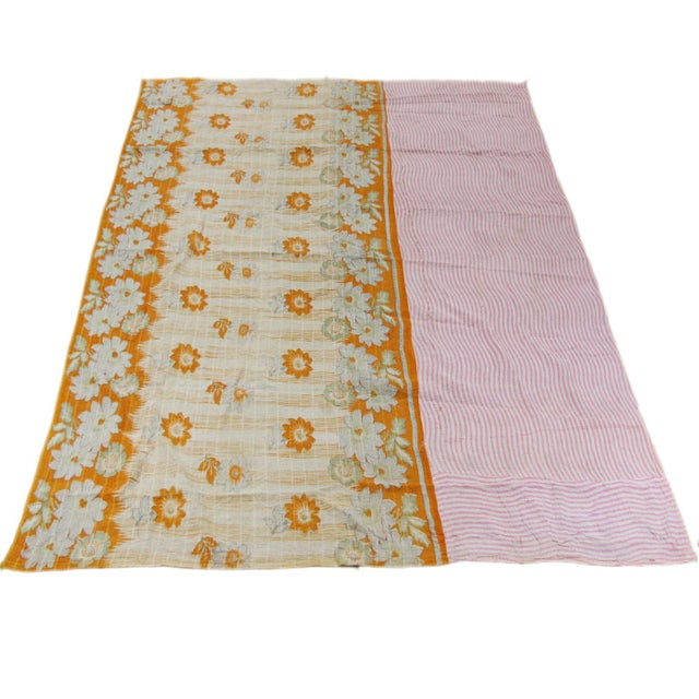 Rug & Relic Vintage Kantha Quilt of Pinks With Yellow - Image 2 of 3
