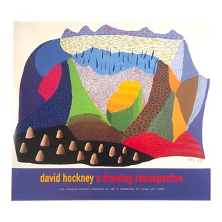 "David Hockney Rare Vintage 1996 Lithograph Print Lacma Exhibition Pop Art Poster "" Sinked "" 1994 For Sale"