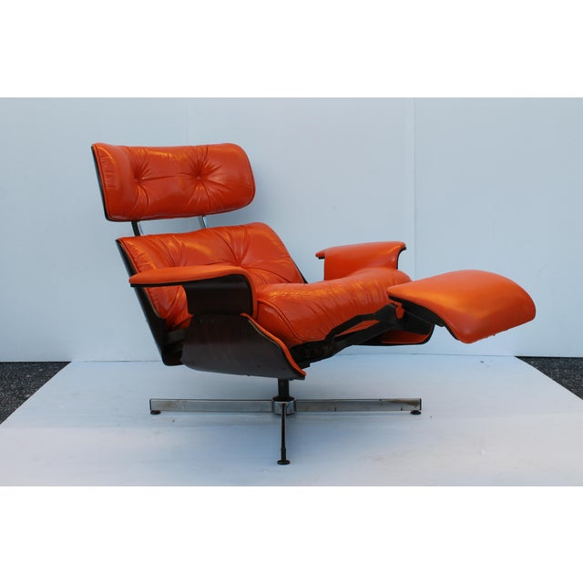 Mid-Century Modern Orange Leather Recliner - Image 2 of 11