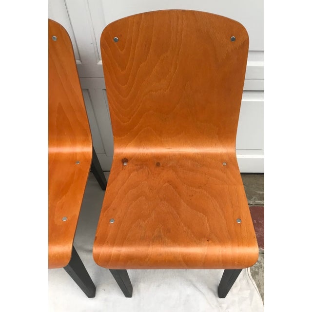 Wood Vintage Rounded Bent Plywood Chairs - Set of 5 For Sale - Image 7 of 9