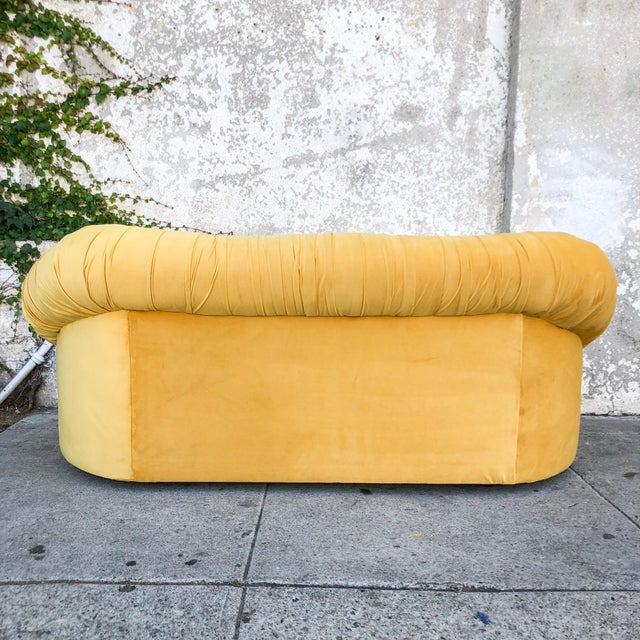 1960s Vintage Lemon Yellow Velvet Reupholstered Loveseat For Sale - Image 5 of 8