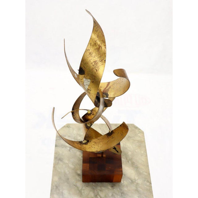 William Bowie Table Top Metal Gold Leaf Sculpture Solid Wood Block Base For Sale - Image 13 of 13