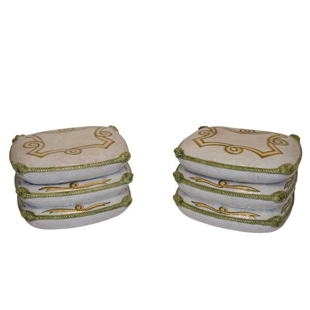 Vintage Neoclassical Ceramic Garden Stools - a Pair For Sale