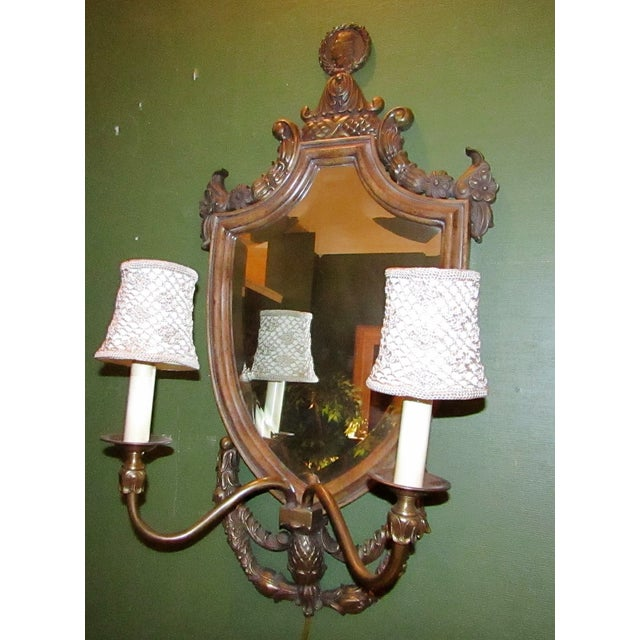 Vintage Mirror Back Wall Sconces - A Pair - Image 3 of 6