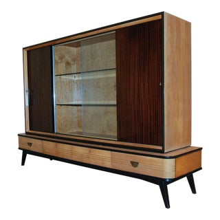 Circa 1950 Large German Exotic Wood and Glass Bar/Display Cabinet, Germany For Sale