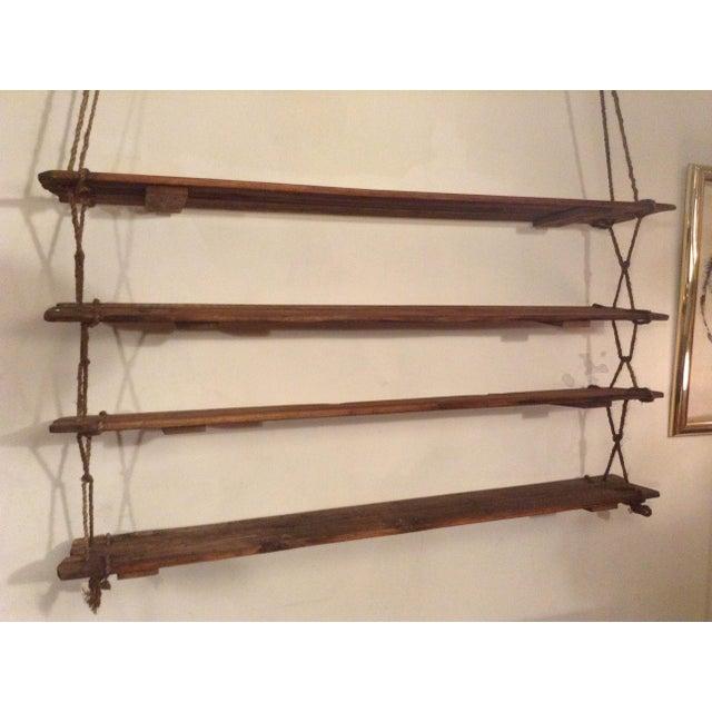 Wood 1950's Vintage American Craft Hanging Shelves For Sale - Image 7 of 9